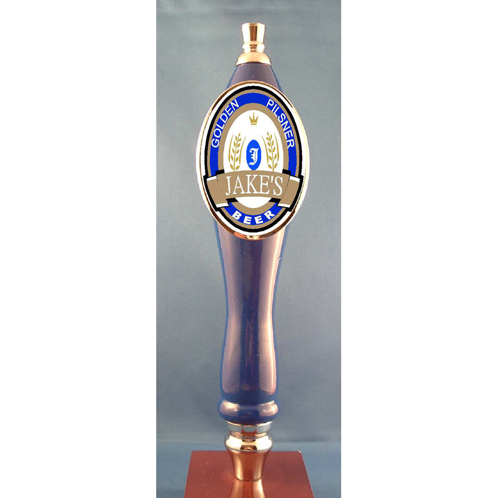 BLUE /GOLD OVAL BEER TAP HANDLE