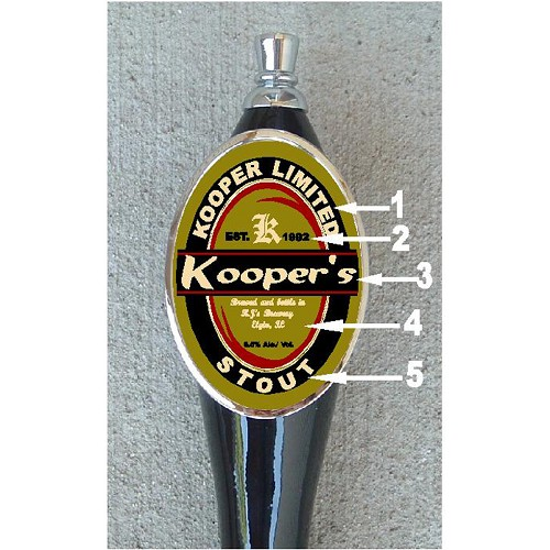 Custom beer tap handle oval design